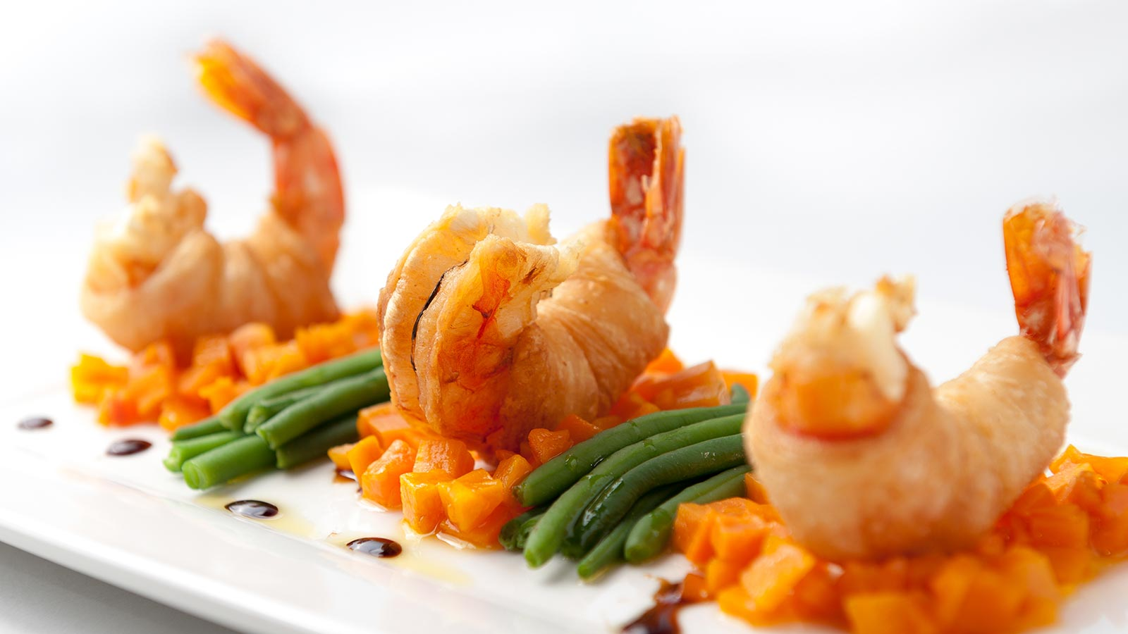 a special shrimp dish at La Serenella
