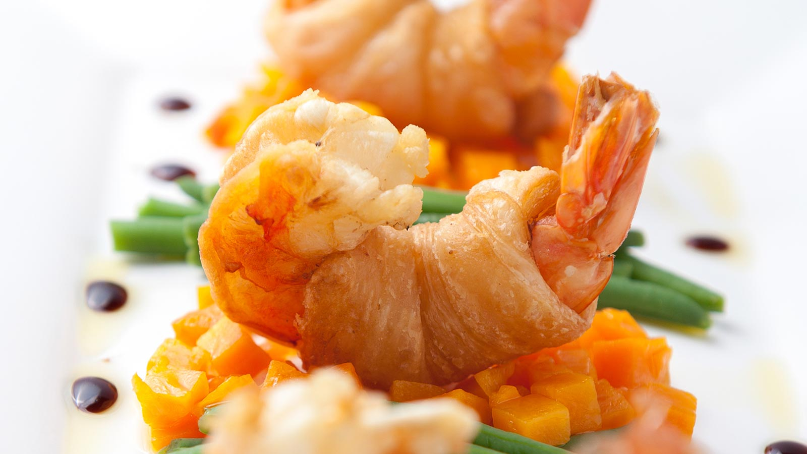 detail of a shrimp dish made by La Serenellas chef