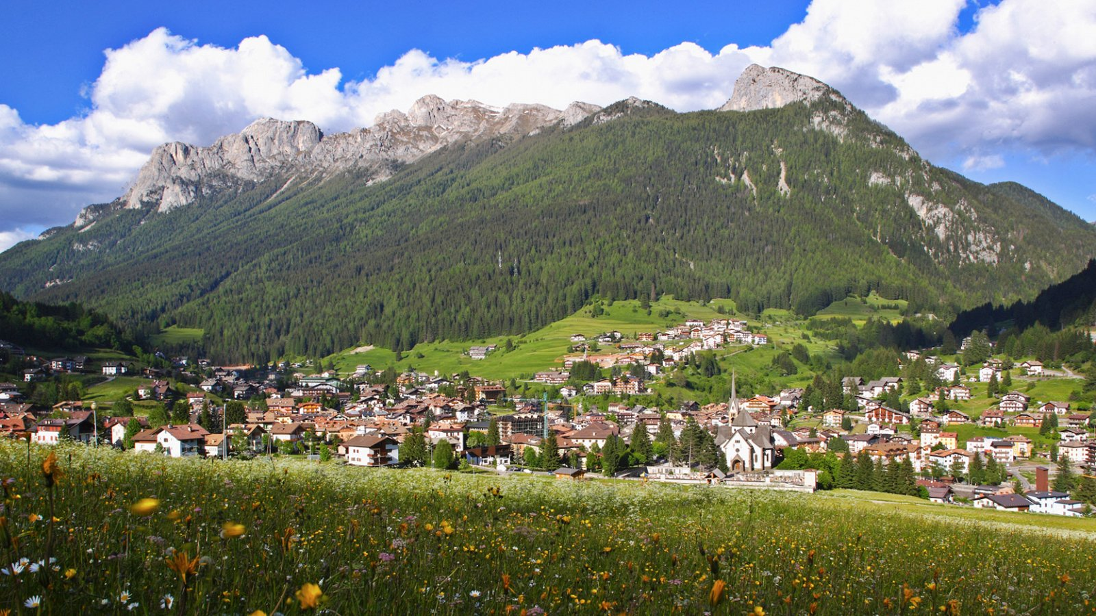 beautiful view over Moena in Trentino - Italy