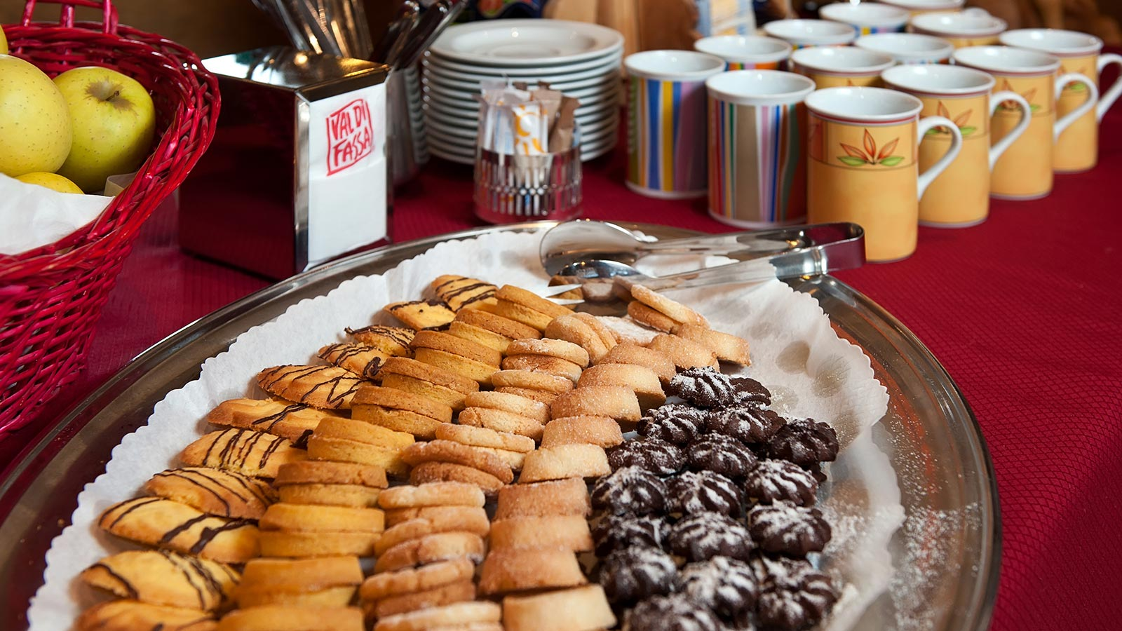 baked cookies on a silver plate - the breakfast buffet at La Serenella